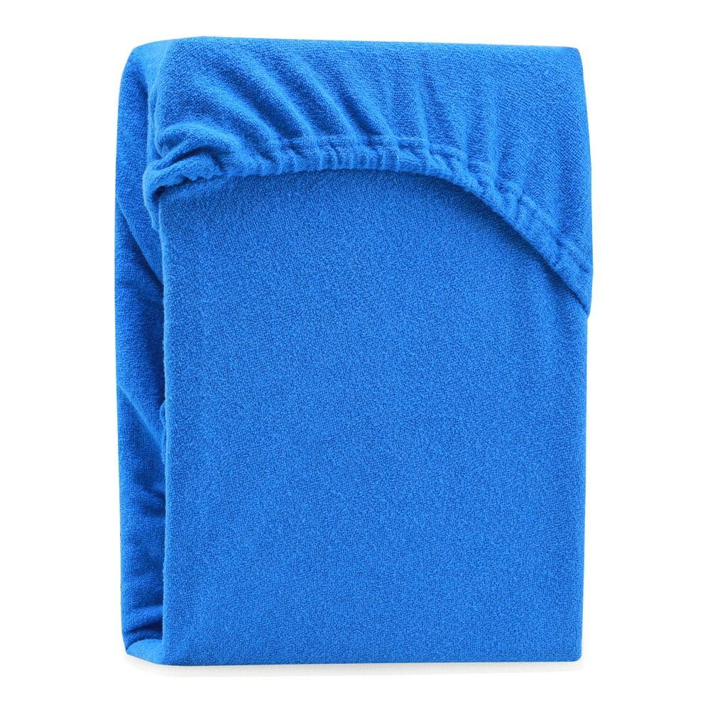 Modrá elastická plachta na dvojlôžko AmeliaHome Ruby Blue, 220-240 x 220 cm