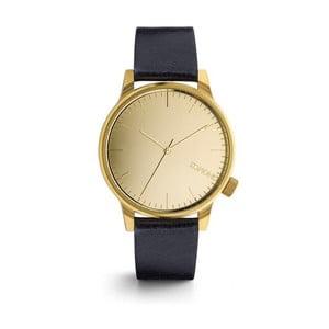 Unisex tmavomodré hodinky s koženým remienkom a ciferníkom v zlatej farbe Komono Mirror