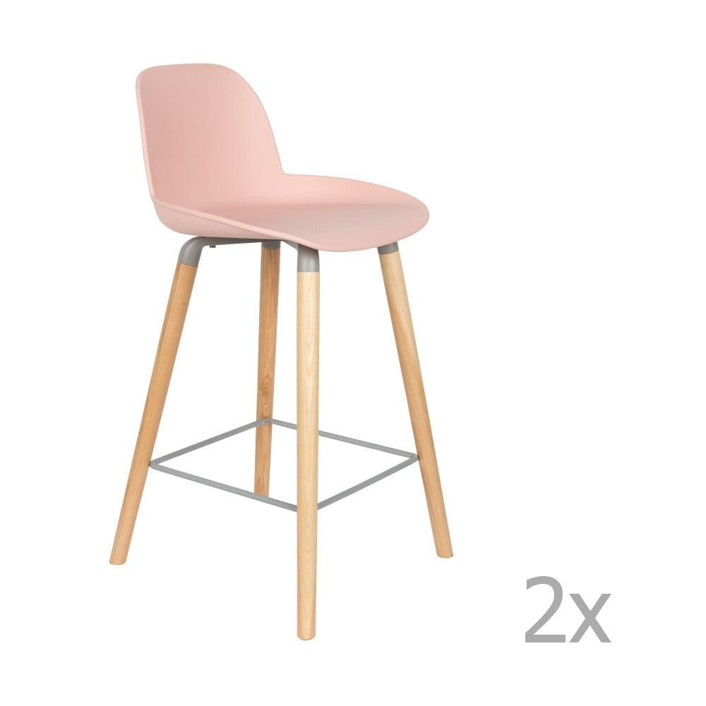 Sada 2 ružových barových stoličiek Zuiver Albert Kuip, výška sedu 65 cm