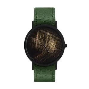 Unisex hodinky so zeleným remienkom South Lane Stockholm Avant Gold Scratch