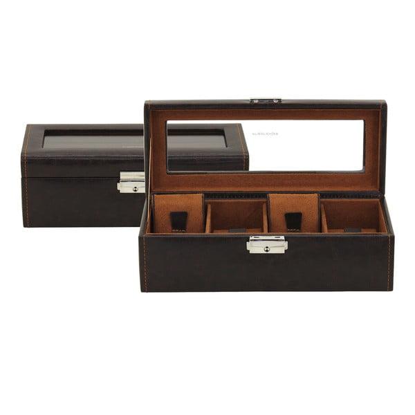 Hnedý box na 4 hodinky Friedrich Lederwaren Bond