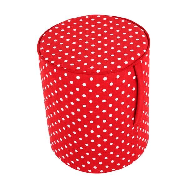 Guľatý puf Pois, červený vzor