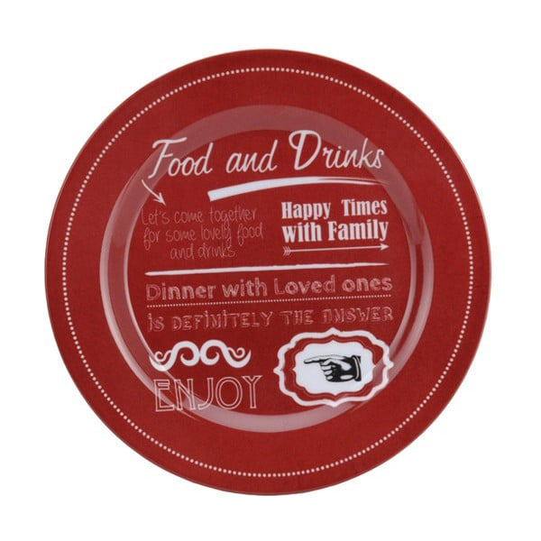 3-dielna kempingová sada riadu Postershop Food and Drinks in Red