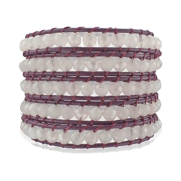 Fialový päťradový náramok z pravej kože s perlami Lucie & Jade