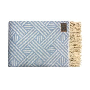 Modrý bavlnený pléd Fibre, 130x170cm