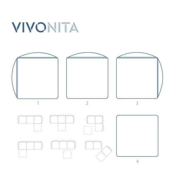 Svetlosivá trojmiestna modulová pohovka s podnožkou Vivonita Cube