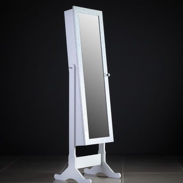 Uzamykateľné stojacie zrkadlo so šperkovnicou Daphne, vzorované