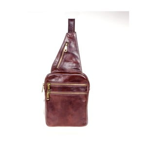 Tmavohnedý kožený batoh cez rameno Italia in Pogress Martino