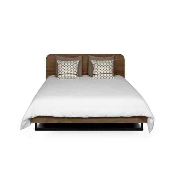 Hnedá posteľ s čiernymi nohami z ocele TemaHome Mara, 160 × 200 cm