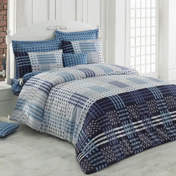 Modré bavlnené obliečky s plachtou Cameron, 200 x 220 cm