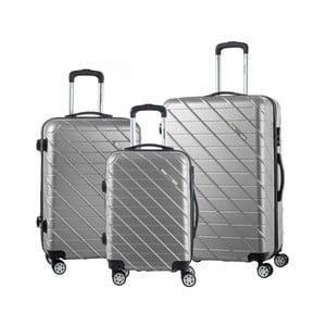 Sada 3 sivých cestovných kufrov na kolieskach Murano Americano
