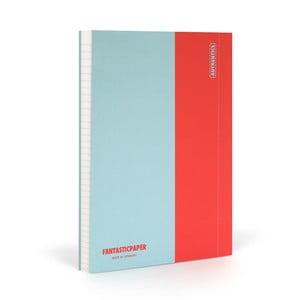 Zápisník FANTASTICPAPER A5 Skyblue/Warm Red, riadkovaný