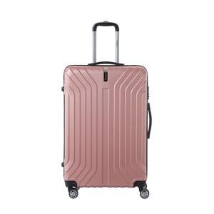 Svetloružový cestovný kufor na kolieskách SINEQUANONE Tina, 107 l