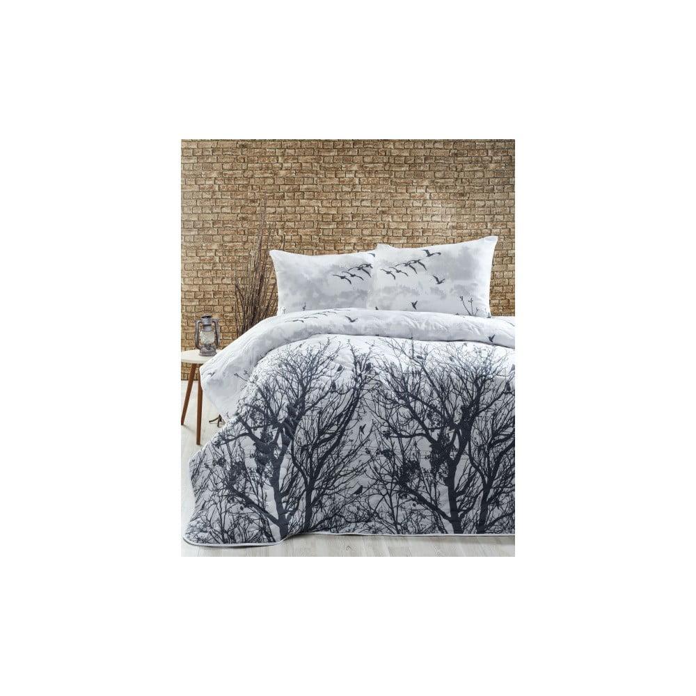 Ľahká prikrývka s obliečkami na vankúše Peace Grey, 200 × 220 cm