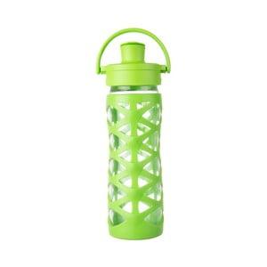 Sklenená fľaša na vodu so silikónovým chráničom Lifefactory Lime Activ, 475 ml