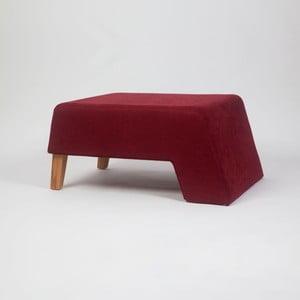 Vínovočervená podnožka s drevenými nohami Kate Tinta