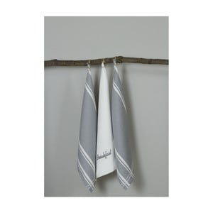 Sada 3 sivo-bielych kuchynských utierok My Home Plus Breakfast, 50×70 cm