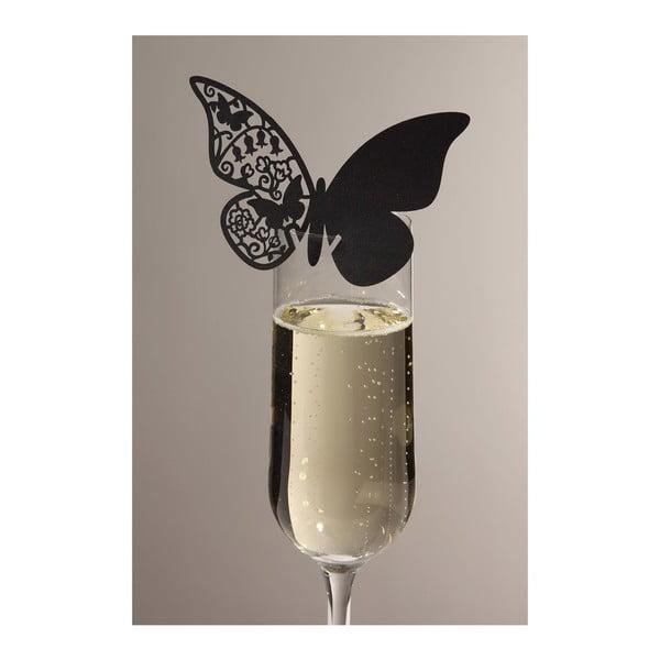 Sada 10 menoviek/rozlišovačov na poháre Butterflies, čierna