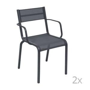 Sada 2 antracitovosivých kovových záhradných stoličiek Fermob Oléron Arms