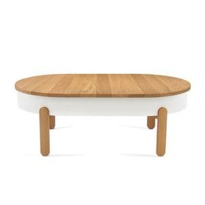 Prírodno-biely odkladací stolík z dubového dreva s úložným priestorom Woodendot Batea L