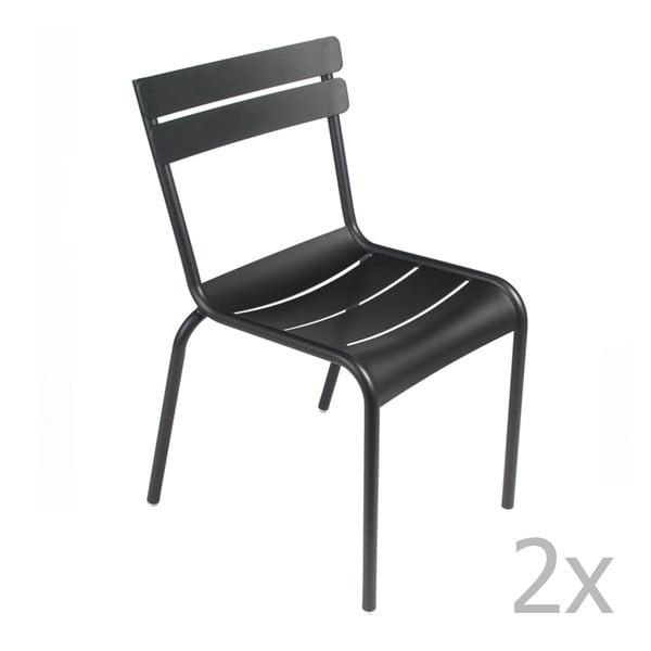 Sada 2 čiernych stoličiek Fermob Luxembourg