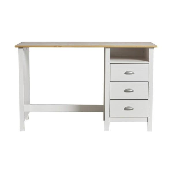 f20a5af3e537c Biely pracovný stôl z masívneho borovicového dreva s 3 zásuvkami Marckeric  Jade