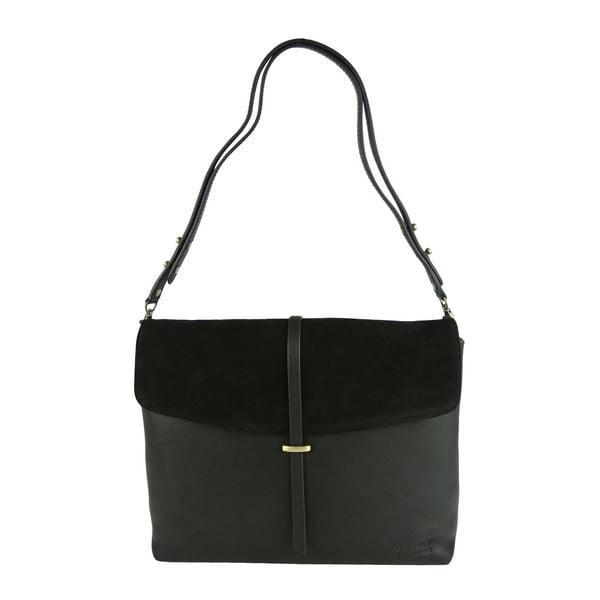 Kožená kabelka Ella, polnočná čierna