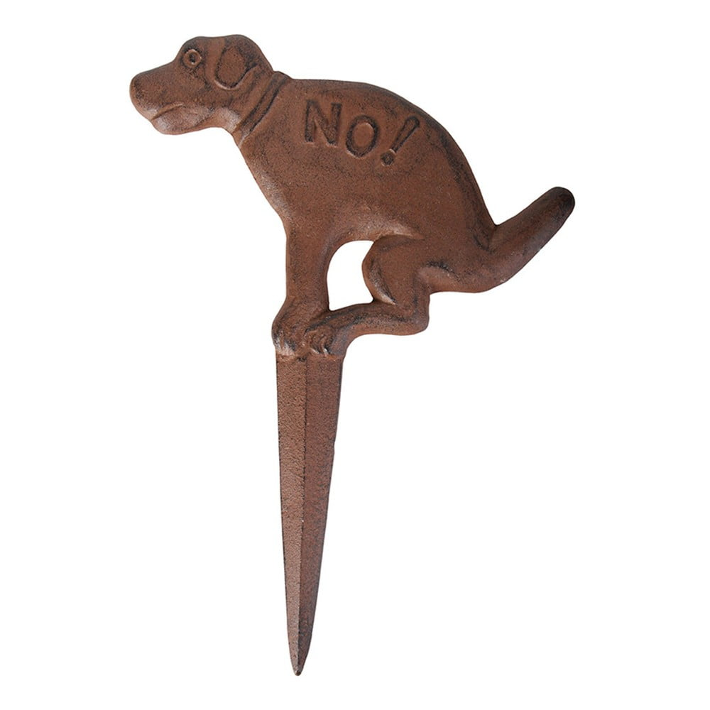 Hnedá liatinová zapichovacia ceduľka s motívom psa Esschert Design