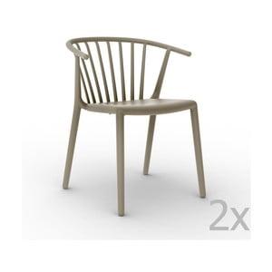 Sada 2 béžových záhradných stoličiek Resol Woody