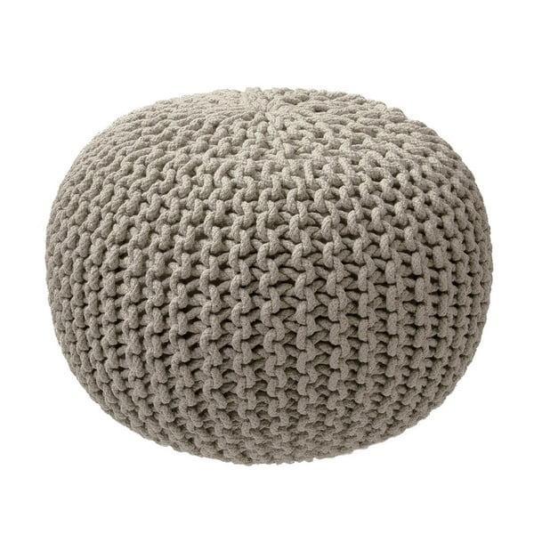 Béžovo-sivý pletený puf ZicZac