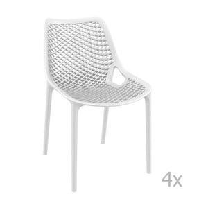 Sada 4 bielych záhradných stoličiek Resol Grid