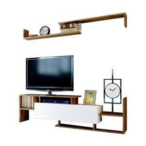 Biela TV komoda v dekore orechového dreva Rain