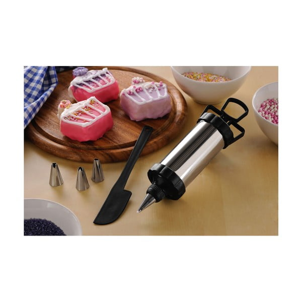 Zdobiaca sada na pečenie Premier Housewares Icing Set, stierka+pomôcka s násadami (4ks)