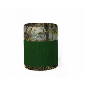 Puf s tropickým motívom so zamatovým poťahom Velvet Atelier, Ø 36 cm