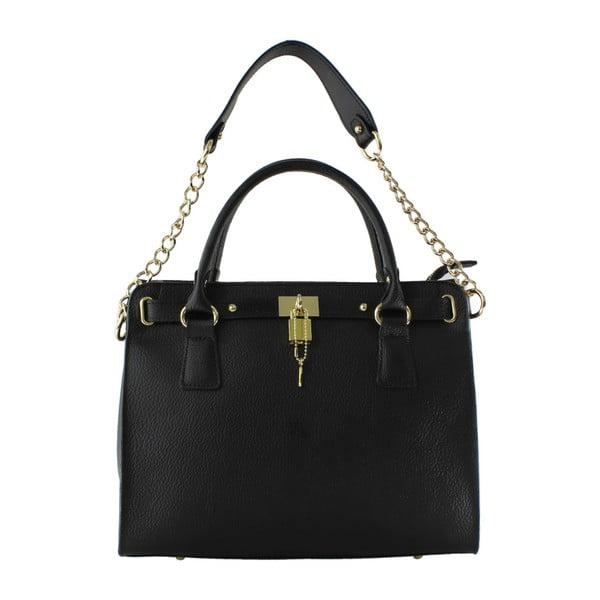 Čierna kožená kabelka Monica
