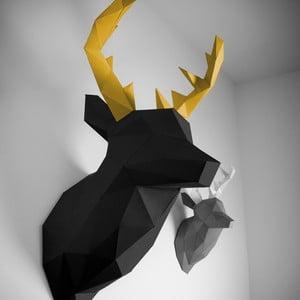 Papierová trofej Jeleň XL, čierno-zlatý