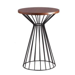Čierny odkladací stolík sdoskou vdekore orechového dreva sømcasa Niko