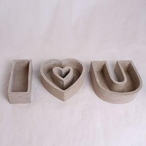 Sada 3 sivých betónových kvetináčov Dakls I Love You