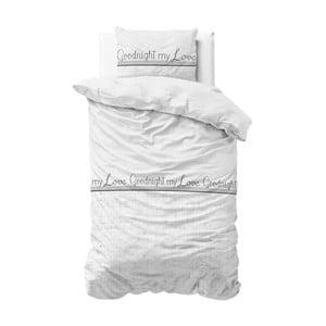 Biele obliečky z mikroperkálu Sleeptime Goodnight my Love, 140 x 220 cm