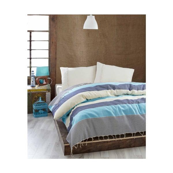 Ľahká prikrývka cez posteľ Buldan Dark Blue, 200x235 cm