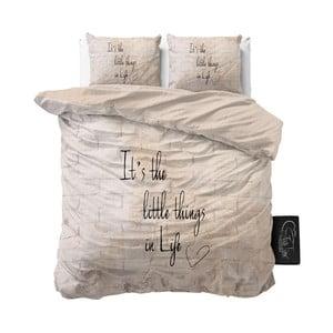 Béžové obliečky z mikroperkálu Sleeptime Little Things, 200 x 220 cm