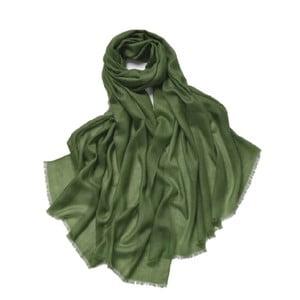 Zelený tenký kašmírový šál Bel cashmere Clara, 200 x 90 cm