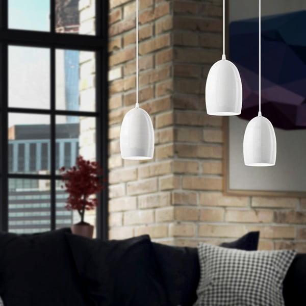 Strieborné trojité závesné svietidlo s bielymi káblami a bielou objímkou Sotto Luce Ume