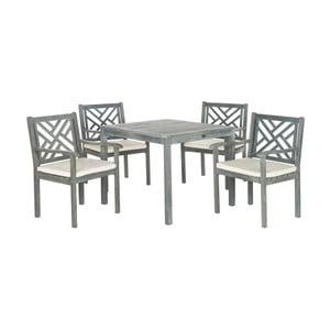 Sivý set záhradného stolíka a stoličiek z agátového dreva Safavieh Mendoza