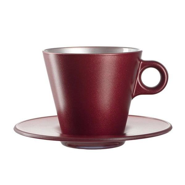 Červený metalický hrnček na cappuccino meniaci farbu LEONARDO Ooh! Magico