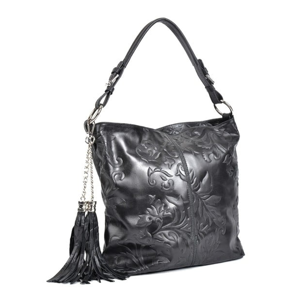 Čierna kožená kabelka Isabella Rhea Hana