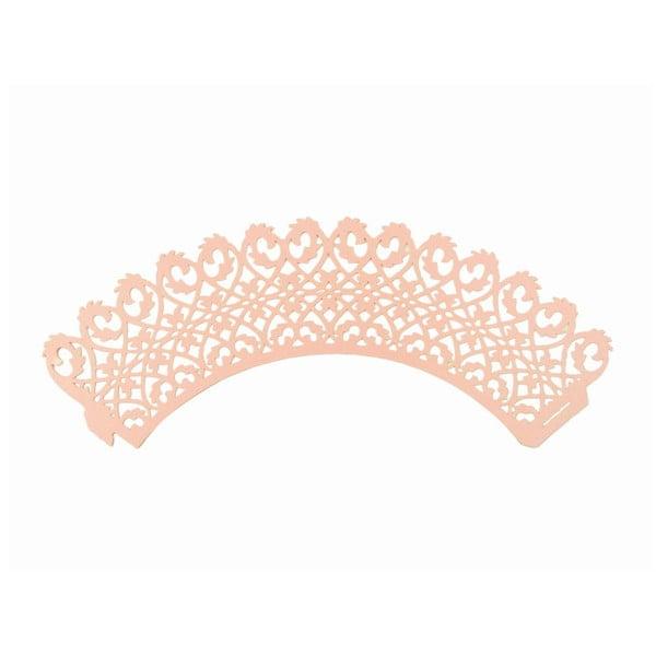 Sada 12 papierových košíkov na cupcakes Pink Lace