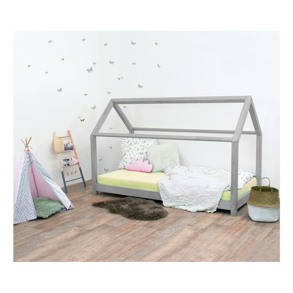 Sivá detská posteľ zo smrekového dreva BenlemiTery, 120 × 160 cm