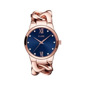 Dámské hodinky Elegante Stones Rose Gold/Royal Blue, 38 mm
