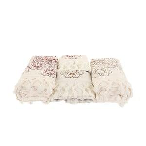 Sada 4 červeno-bielych uterákov Marcelo